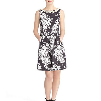 Tahari Arthur S. Levine Petite Floral Fit and Flare Dress