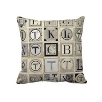 Vintage Typographical Letters Throw Pillow from Zazzle.com