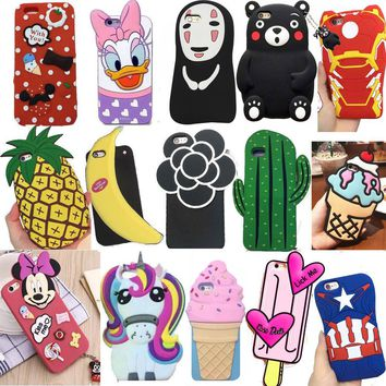 New 3D Cartoon Cute Soft Silicone Phone Back Case Cover Shell For Apple iPhone 5 5S 5C SE 6 6s 6s 7 8 Plus X Protector Skins