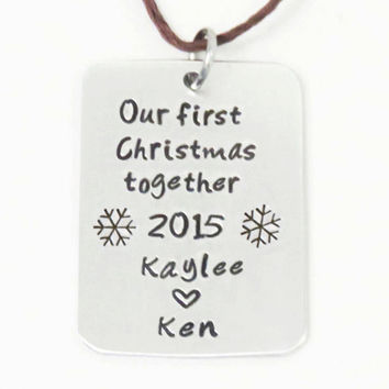 Snowflake Christmas ornament with names - Personalized X'mas ornament 2015 - First Xmas together newlyweds ornament