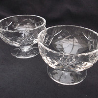 Edinburgh Crystal Sundae Dishes/Glasses or Starter Dishes. Set of 2. Vintage Glasses.