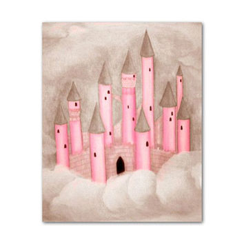 Castle princess pink and brown, Nursery wall art, Nursery prints, Girl Nursery art, Princess decor, Princess Nursery, Girl Nursery decor