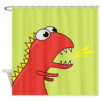Cute Dinosaur With Fire Breath Shower Curtain