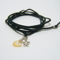 Leather Wrap Anklet - Genuine Soft Black Suede Lace - Silver Lotus Flower Charm - Wire Wrapped Sea Glass ~ Wrap & Tie - Gift under 10