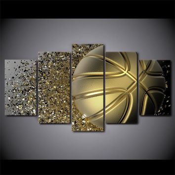 Gold Basketball Basket Ball Splash Disintegration Wall Art Canvas Panel Art Panel Print Poster