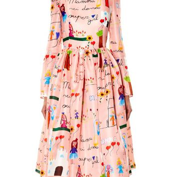 Drawing-print silk midi dress | Dolce & Gabbana | MATCHESFASHION.COM US