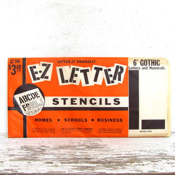 """Vintage Stencils - Original Package of EZ Letters Stencils 6"""" Gothic Letters and Numbers"""