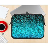 The Black and Turquoise Unfocused Sparkle Print Ink-Fuzed NeoPrene MacBook Laptop Sleeve