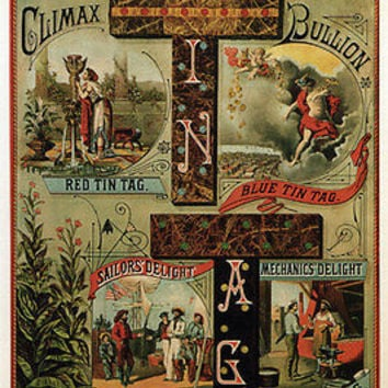 TIN TAG TOBACCO Ad Vintage Poster United States 1880 24X36 UNIQUE top notch