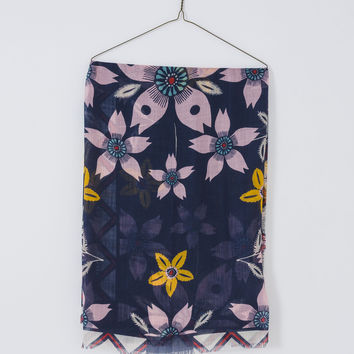 Navy Floral Scarf