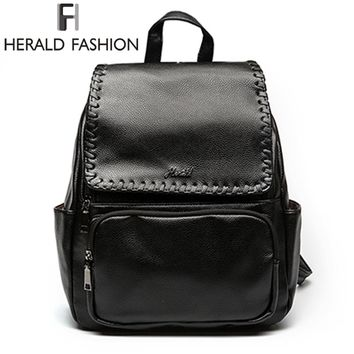 Herald Fashion Solid Women's Backpack PU Leather New Design School Backpack Large Capacity Women Purse Student Package For Lady