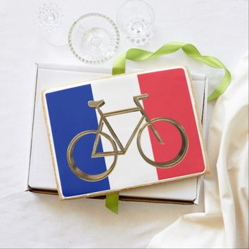 French Flag Golden Bike Bicycle Cycling Cyclist Shortbread Cookie