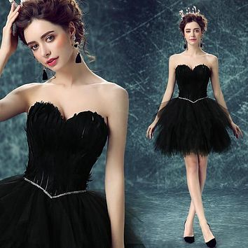 Luxury Feathers Cocktail Dresses 2016 A Line Sweetheart Gauze Short Party Gowns Homecoming Lace Up Vestidos de coctel