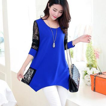 maxi shirt lady blouses clothing lovely lace modest wear top women cloth free ship