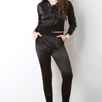 High Waisted Satin Jogger Pants