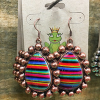 Copper serape earrings