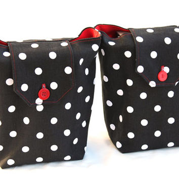 Valentines Gift Bags Reusable Red Black White Polka Dot Retro Modern Birthday Hostess Fabric Tote (Set of 2) --US Shipping Included