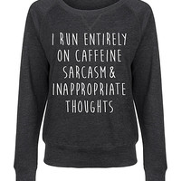 Heather Charcoal 'Entirely On Caffeine' Slouchy Pullover
