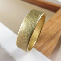 Brushed 6MM Gold Low Profile Wedding Band
