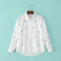 White Green Floral Embroidery Long Sleeve Loose Blouse