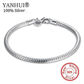 YANHUI Fine Jewelry 100% Original Pure 925 Sterling Silver Charm Bracelets For Men and Women With S925 Stamp Wedding Gift HB001