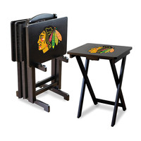 Chicago Blackhawks NHL TV Tray Set with Rack