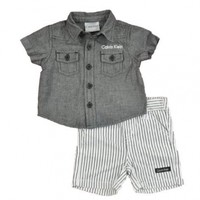 Calven Klein Newborn Boys 2pc Stripe Short Set (3/6M)