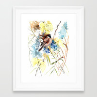 Sparrow in the Field Framed Art Print by sureart