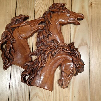 Wild Horses vintage wall plaque, 3 beautiful wild mustangs, flowing manes. Mid Century Western decor