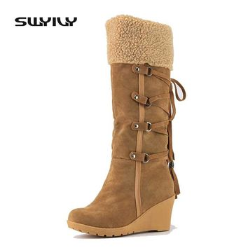 Women's Boots High Boot Slip-resistant Wedges Winter Shoes Snow Boot Knee High Boots Women Platform Lady Shoes Warm Winter