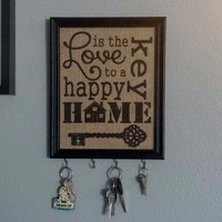 Framed Burlap Print - Love is the Key to A Happy Home - Vertical - Key Hooks - Subway Art - Housewarming - 8x10