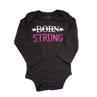 Empowering Baby Girl Clothes - Organic - Onesuit, Bodysuit, Born Strong
