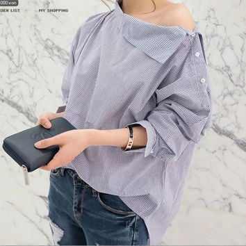 New Spring Fashion Women Shirts Batwing Full Sleeve Striped Loose Oblique Collar Blouse Shirt Top Blue 1269