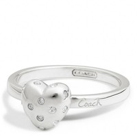 Coach :: New Sterling Pave Heart Script Ring