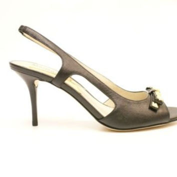 Michael Kors Livvy Sandal Womens Open Toe Black Leather Slingbacks Sandals Heels