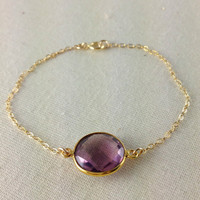 Plum Amethyst Bezel Bracelet, February Birthstone, Gemstone Link, Purple, Vermeil Gold, Birthday Gift, Christmas Gift, Best Friend Gift