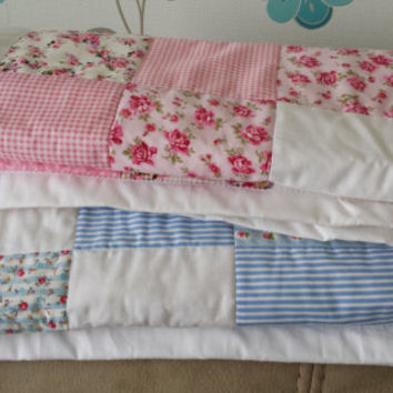 Patchwork Quilt Cath Kidston & Rose and Hubble Pink and white 100% cotton. 85cm square FREE UK POSTAGE!