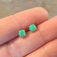 Light Green Fire Opal Post Earrings