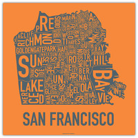 San Francisco Neighborhood Map Poster by Ork Posters