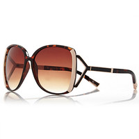 River Island Womens Brown tortoise shell square sunglasses