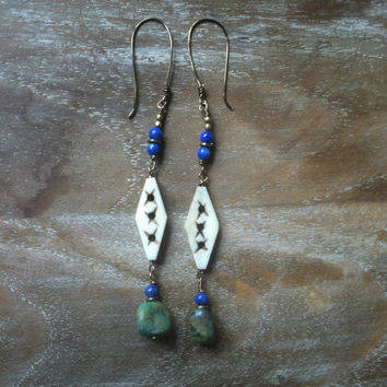 ocan. lapis, bone and turquoise earrings // gypsy, spirittribe, boho, festival, healing, silver, jewerly