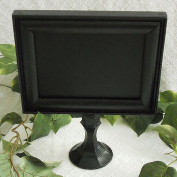 UNIQUE, black PEDESTAL chalkboard. Black chalkboard. Pedestal chalk board. Pedestal chalkboard. Black chalk board. Up cycled chalkboard
