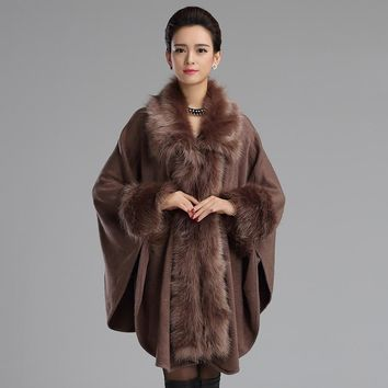 2017 New Elegant Large Fur Coat Faux Fox fur Cloak Cape Relaxed Knitted Shawl Long Cardigan