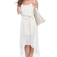 Leona Nude Flowy Tassle-Belt Maxi Dress