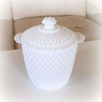 VINTAGE POLKA-DOT Embellished White Glass Ice Bucket with Handles & Lid in Pantone Color Cloud Dancer 11-4201