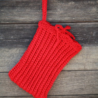Vegan Crocheted Tablet Sleeve in Fire Engine Red - Cozy - Case - Ipad Mini, Nook, Kindle, Galaxy - Back to School - Free Shipping