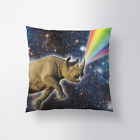 Rhinocorn Pillow // Spun Polyester Throw Pillow Case, Cover, With or Without Insert - Made in USA