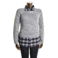 Dolled Up By Fang Womens Juniors Flannel Plaid Trim Pullover Sweater