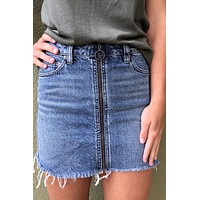 Free People Mini Zip It Up- Denim Skirt