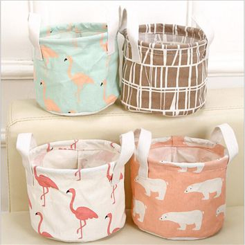 Cute Round/square Printing Cotton Linen Desktop Storage Organizer Sundries Stationery Cosmetic Underwear Storage Basket EJ972416